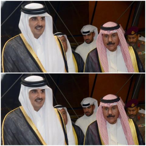 لقاء سابق بين أمير الكويت الشيخ نواف الصباح (يمين) وأمير قطر الشيخ تميم بن حمد آل ثاني (الجزيرة)