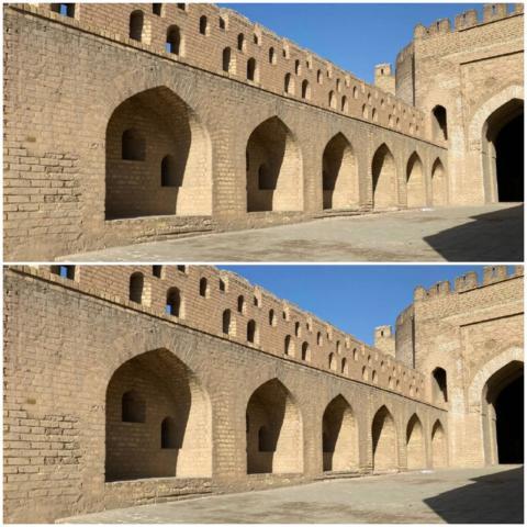 الباب الأوسط عبارة عن بوابة لمبنى ضخم يضم غرفًا لخزن السلاح والطعام (الجزيرة)