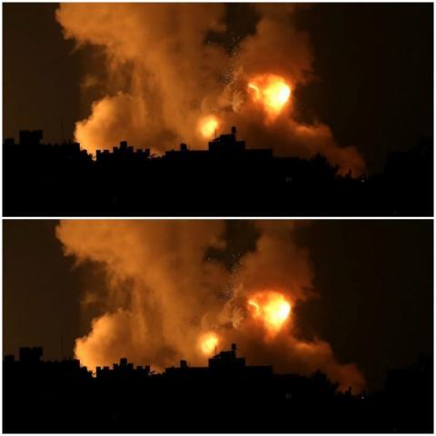 غارة إسرائيلية على جنوبي قطاع غزة (رويترز)