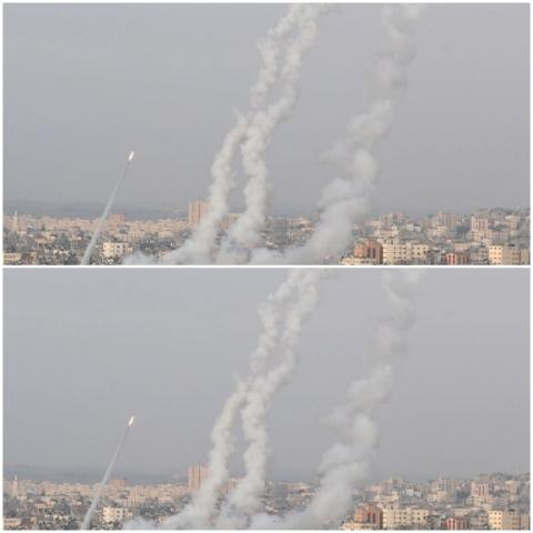 المقاومة قالت إنها أطلقت 7 صواريخ على القدس (رويترز)