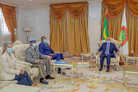 الرئيس محمد ولد الغزواني خلال لقائه مع الوفد الأممي (وما)