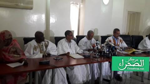 لجنة التحقيق البرلمانية خلال المؤتمر الصحفي ( المصدر الصحراء)