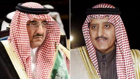 الأمير أحمد بن عبد العزيز (يمين) والأمير محمد بن نايف أبرز المعتقلين