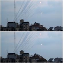 صواريخ أطلقت من غزة باتجاه أهداف إسرائيلية (رويترز)